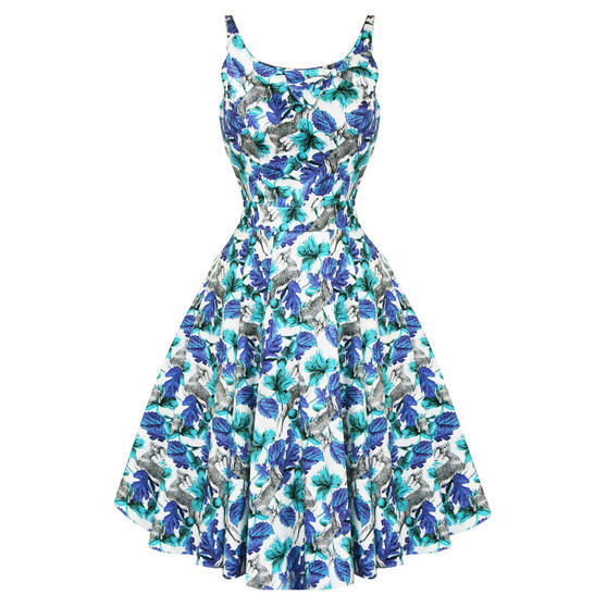 Hearts and Roses London Blue Floral 1950s Dress
