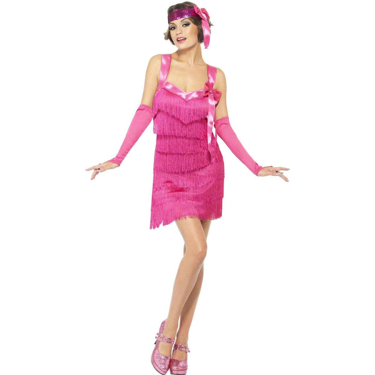 Womens New Sexy Pink Flapper Hotty Vintage 20s Style Fancy Dress ...