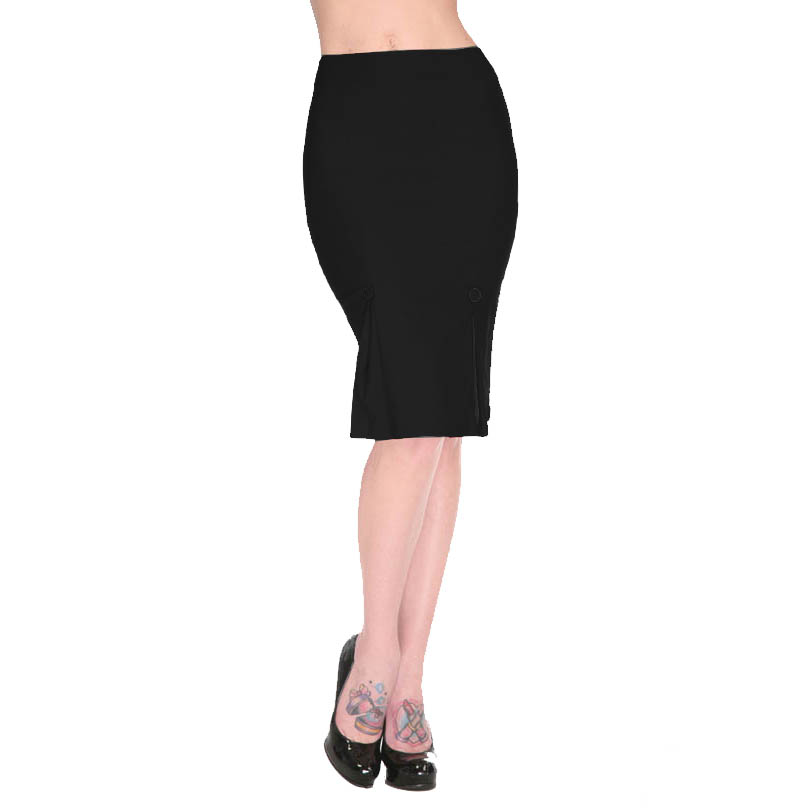 Voodoo Vixen Plain Black Red Vintage 50S Style Pinup Fitted Wiggle ...