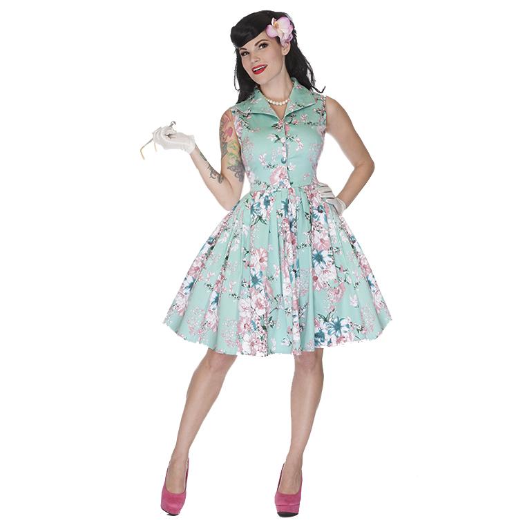 damenkleid kleid teekleid voodoo vixen rosa aqua blumen 50er party ebay. Black Bedroom Furniture Sets. Home Design Ideas