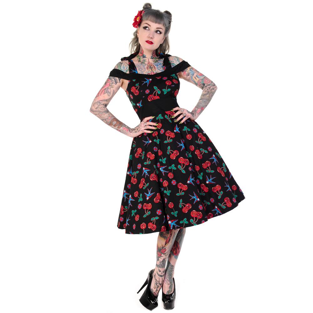 Damen banned kleid schwarze kirsche zucker totenkopf for Rockabilly outfit damen