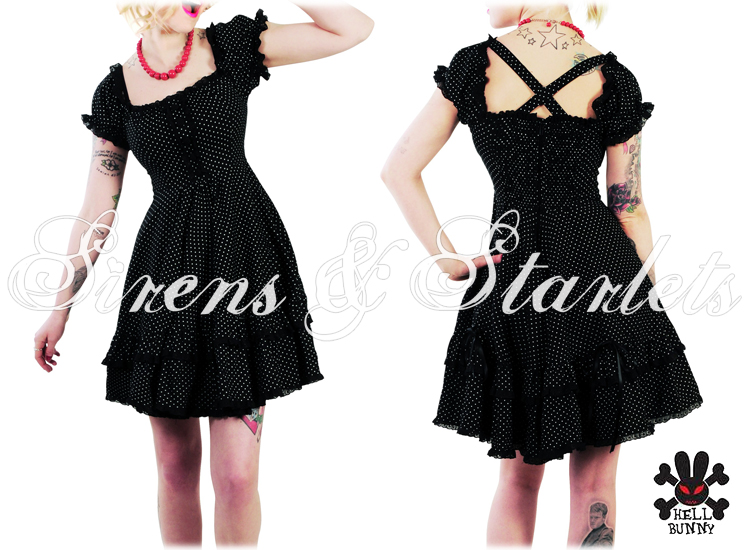 HELL BUNNY ANGELICA BLACK POLKA DOT 50'S TEA DRESS 6-14