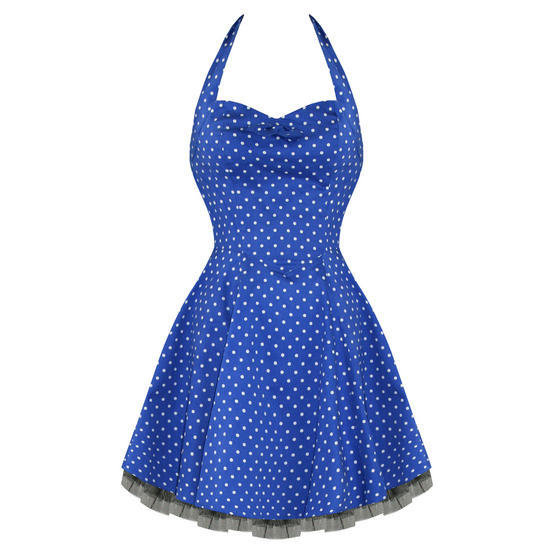 Hearts and Roses London Blue Spotty 1950s Dress