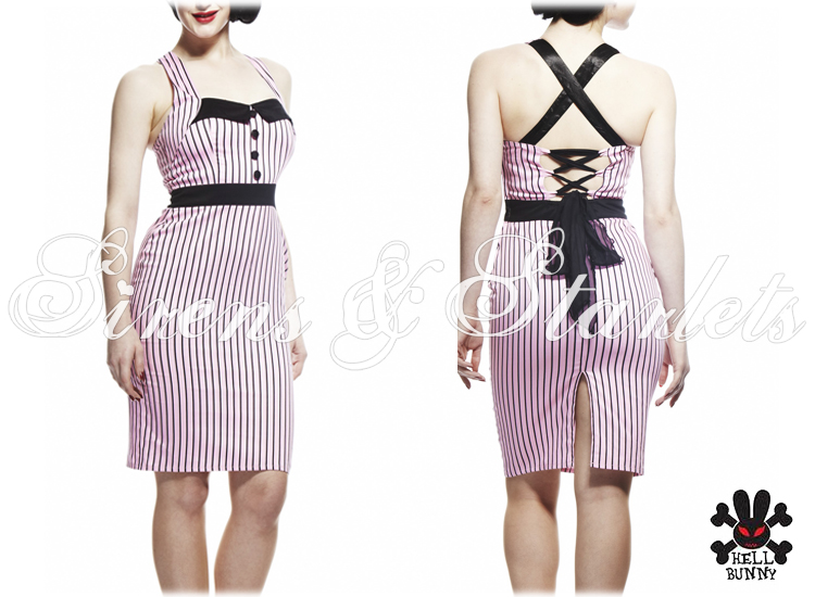 HELL BUNNY MRS JOHNSON PINK BLACK STRIPE VINTAGE STYLE FITTED PENCIL DRESS