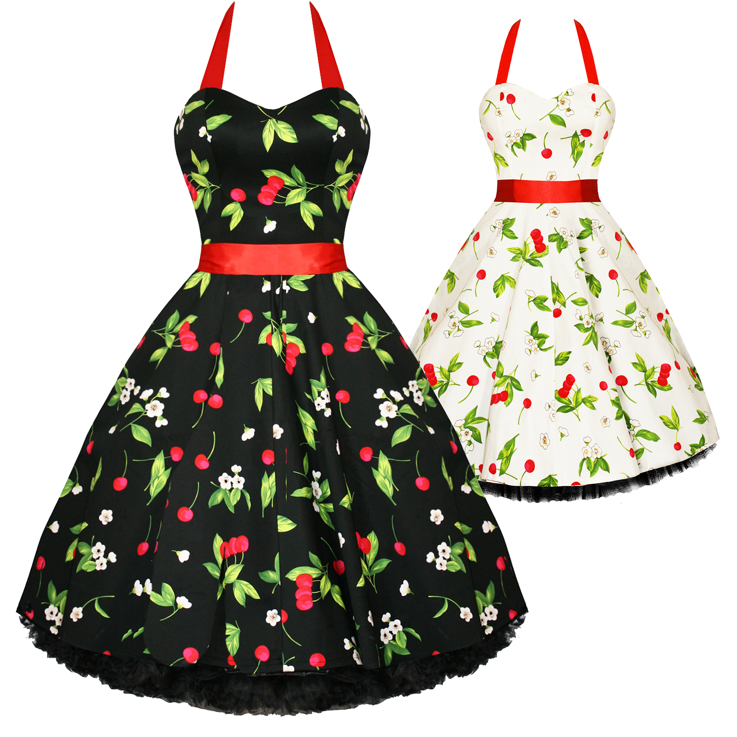 Hearts And Roses London Cherry Print Rockabilly Pinup