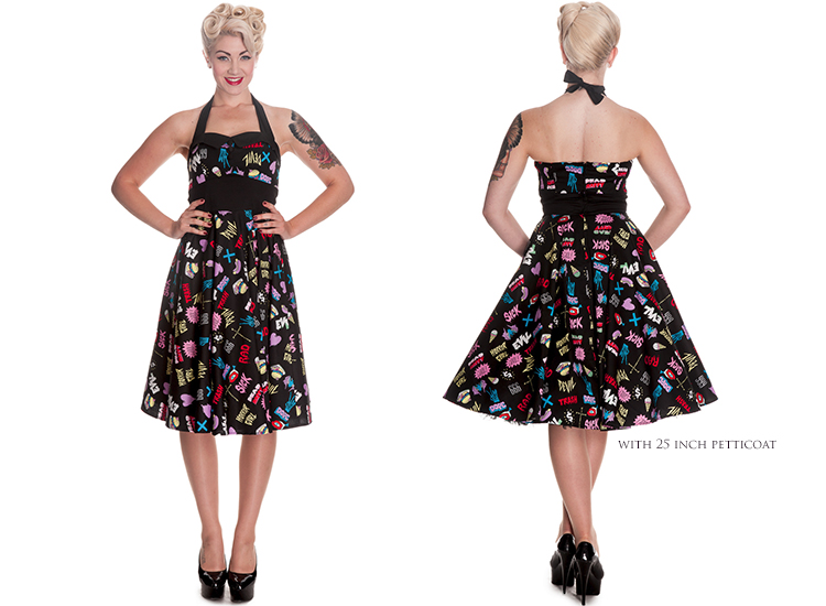 22fe9fbe98 Hell Bunny Horror Gal Rockabilly Psychobilly Vintage 50s Party Prom Pinup  Dress
