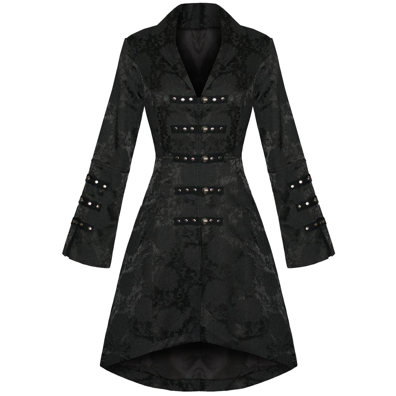 damen jacke mantel schwarz grufti gothic milit r satin blumen brokatstoff ebay. Black Bedroom Furniture Sets. Home Design Ideas