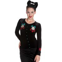 Hell Bunny Sugar Skull Cat Horror Rockabilly Psychobilly Womens Cardigan Top