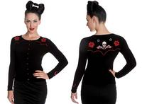 Hell Bunny Western Star Rose Rockabilly Vintage 50s Pinup Womens Cardigan Top