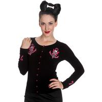 Hell Bunny Little Kate Nautical Skull Bow Rockabilly Pinup Womens Cardigan Top