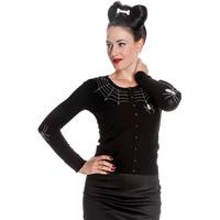 Hell Bunny Spider Web Black Gothic Rockabilly Psychobilly Womens Cardigan Top