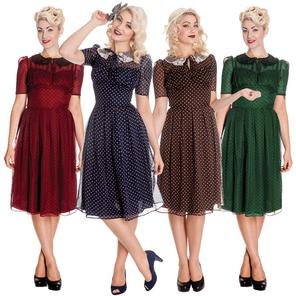 Hell Bunny Cynthia Polka Dot 1940s 50s Wartime Landgirl Victory Tea Dress