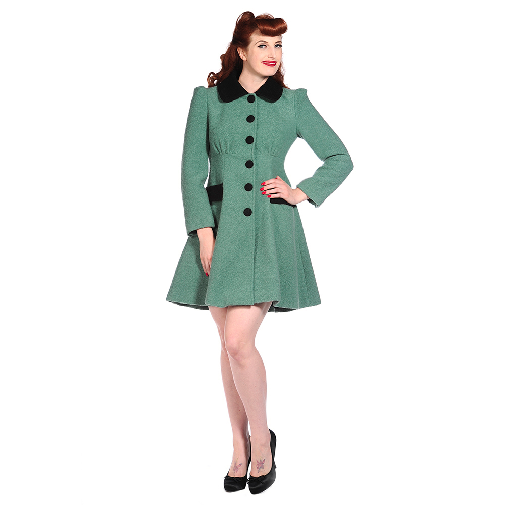 Damen wintermantel banned gr n wolle vintage retro pinup ww2 40er 50er ebay - Rockabilly outfit damen ...