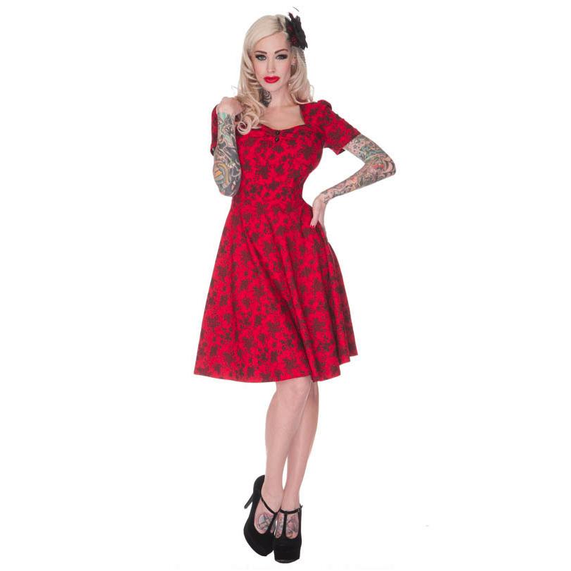 Voodoo Vixen Ladies Retro Red Floral Vintage WW2 40s 50s Style ...