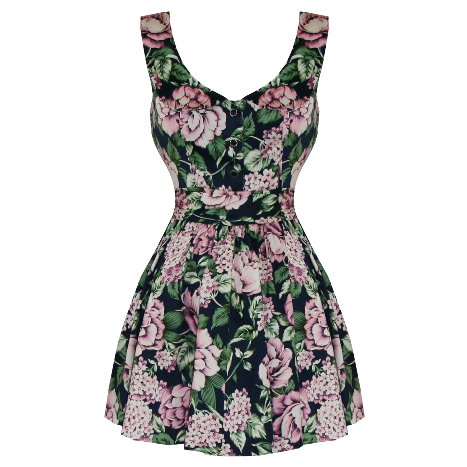 Hearts and Roses London Blue Pink Floral Vintage 50s 60s Mini Party Prom Dres