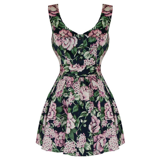 Hearts and Roses London Blue Pink Floral 1950s Mini Dress