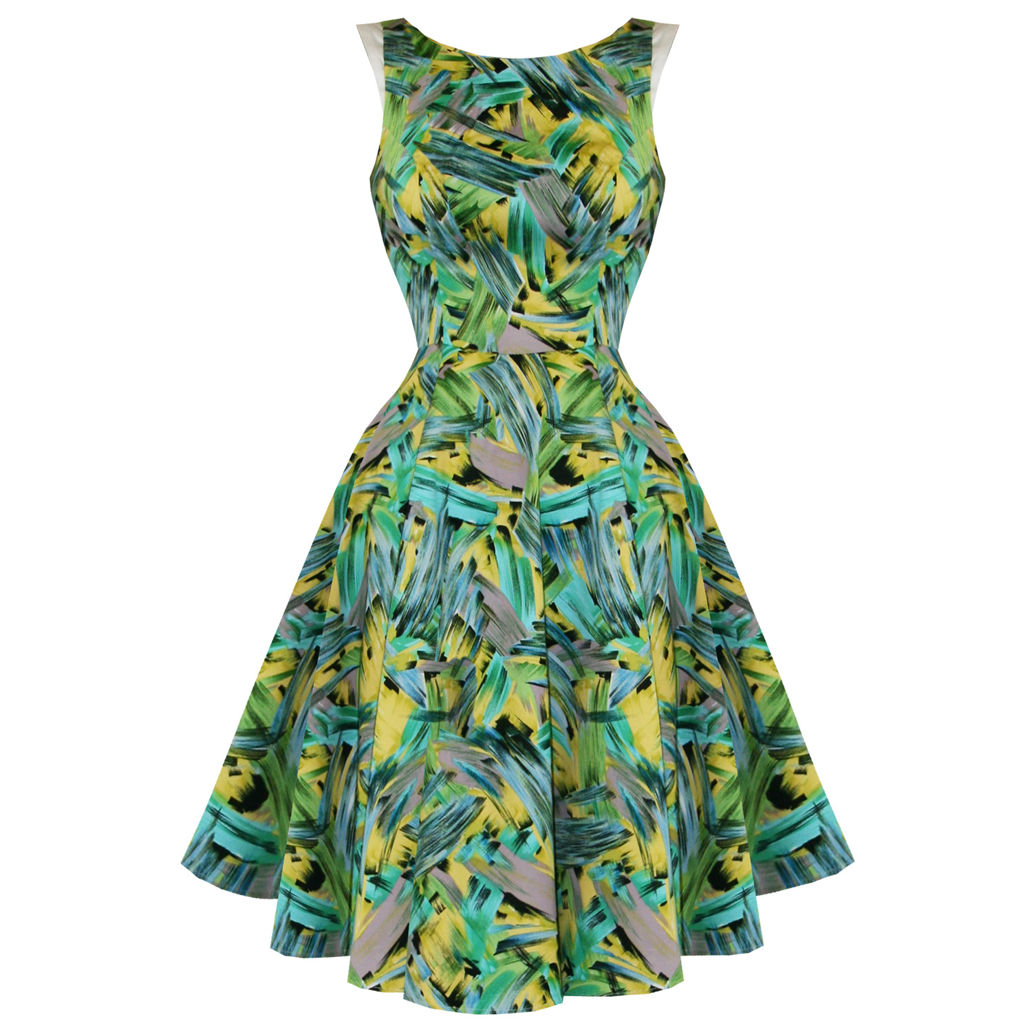 Hearts-Roses-London-New-Green-Retro-Floral-Vintage-50s-Party-Prom-Swing-Dress