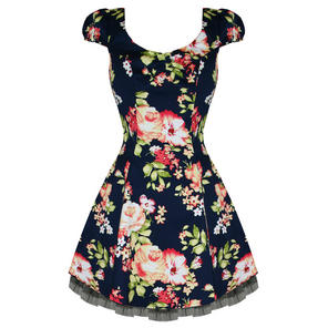 Hearts and Roses London Navy Floral 1950s Mini Dress
