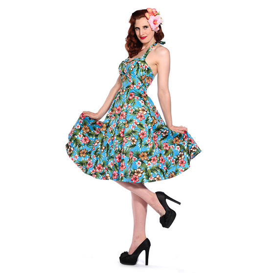 Blue Tropical Floral Print Rockabilly 50s Vintage Pinup Party Prom Dress