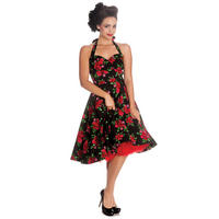 Hell Bunny Cannes Black Floral Rose Rockabilly Vintage 50s Party Prom Tea Dress