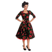 Hell Bunny Eternity Black Floral Rose Rockabilly Vintage 50s Party Prom Dress