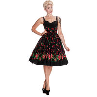 Hell Bunny Catrinas Black Floral Skull Rockabilly Vintage 50s Party Prom Dress