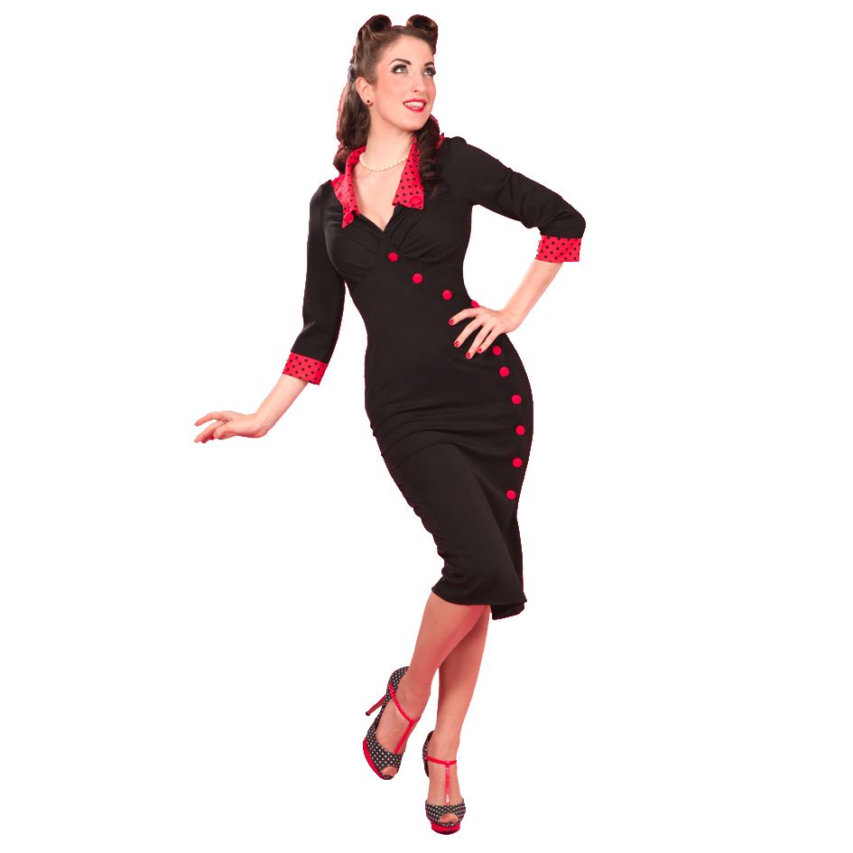 damen bleistiftkleid miss candyfloss neu rot schwarz 50er retro rockabilly ebay. Black Bedroom Furniture Sets. Home Design Ideas