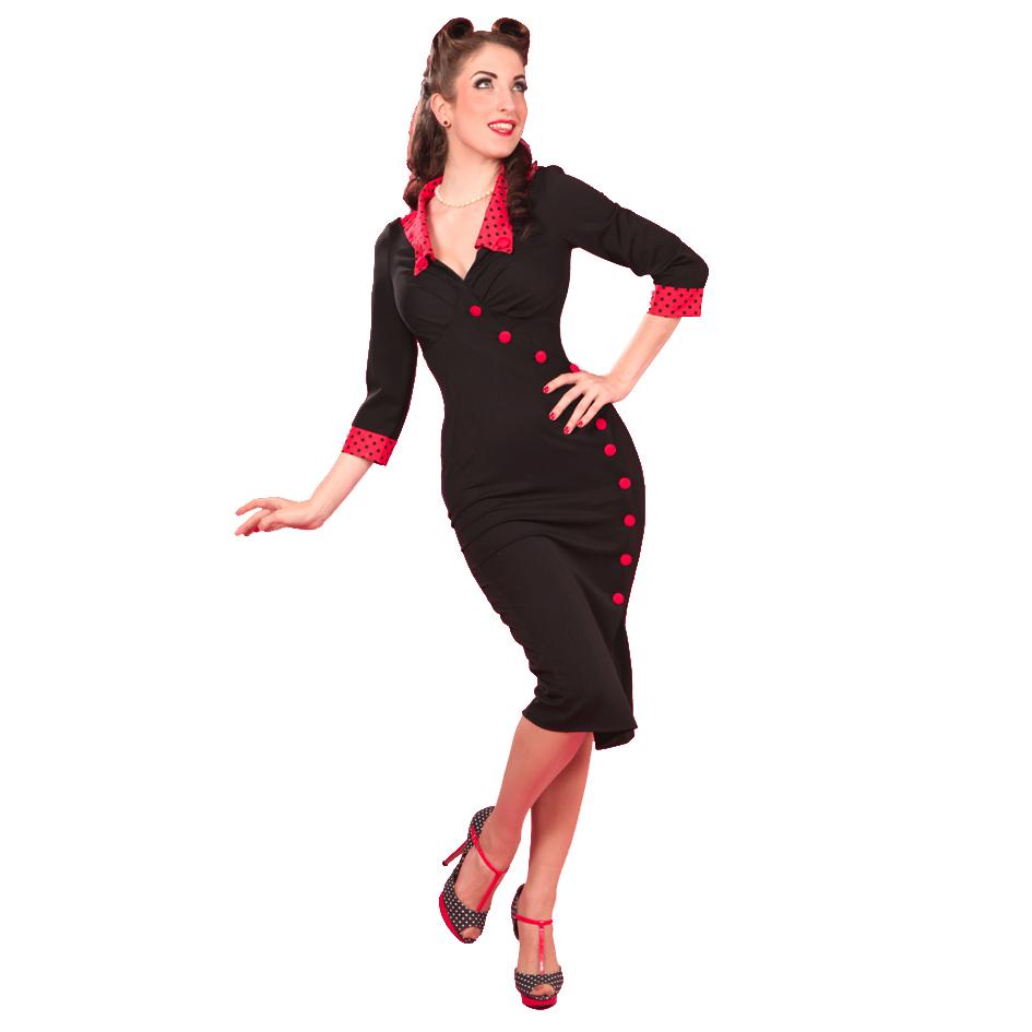 damen bleistiftkleid miss candyfloss neu rot schwarz 50er retro rockabilly ebay. Black Bedroom Furniture Sets. Home Design Ideas
