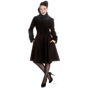 Hell Bunny Angeline Black Faux Wool Vintage 40s 50s Fur Trim Winter Coat