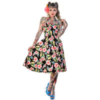 Banned Black Tropical Flower Rockabilly 50s Vintage Pinup Party Prom Swing Dress