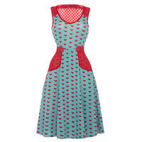 Voodoo Vixen New Fine Knit Kitsch Retro Womens Ladies Flared Heart Dress