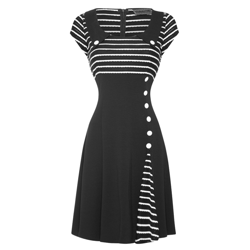 voodoo vixen new womens black white 50s 60s flared party work career dress ebay. Black Bedroom Furniture Sets. Home Design Ideas