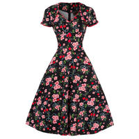 Voodoo Vixen New Black Cherry Floral 50s Retro Party Prom Flared Swing Tea Dress