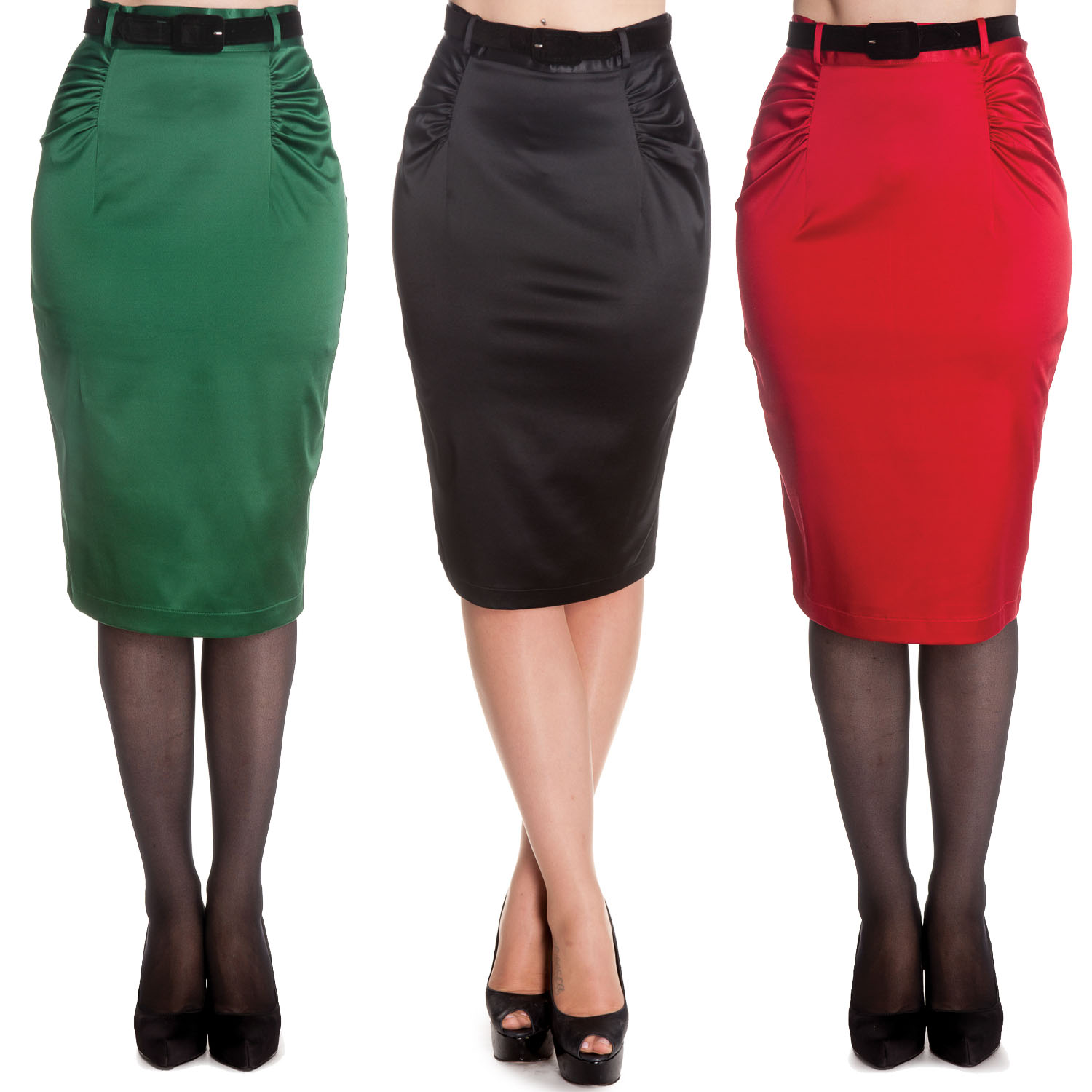 Hell Bunny Babe Rock Retro Rockabilly Vintage 1950s Fitted Wiggle Pencil Skirt