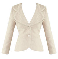 Soma London Ladies New Retro 40s 50s Fitted Winter Boucle Wool Ivory Coat Jacket