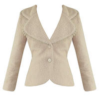 Soma London Ladies New Retro 40s 50s Fitted Winter Boucle Wool Beige Coat Jacket