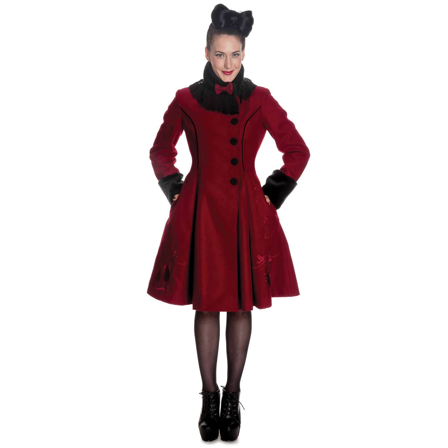 Hell Bunny New Womens Fairy Tale Burgundy Vintage 40s 50s Fur Trim