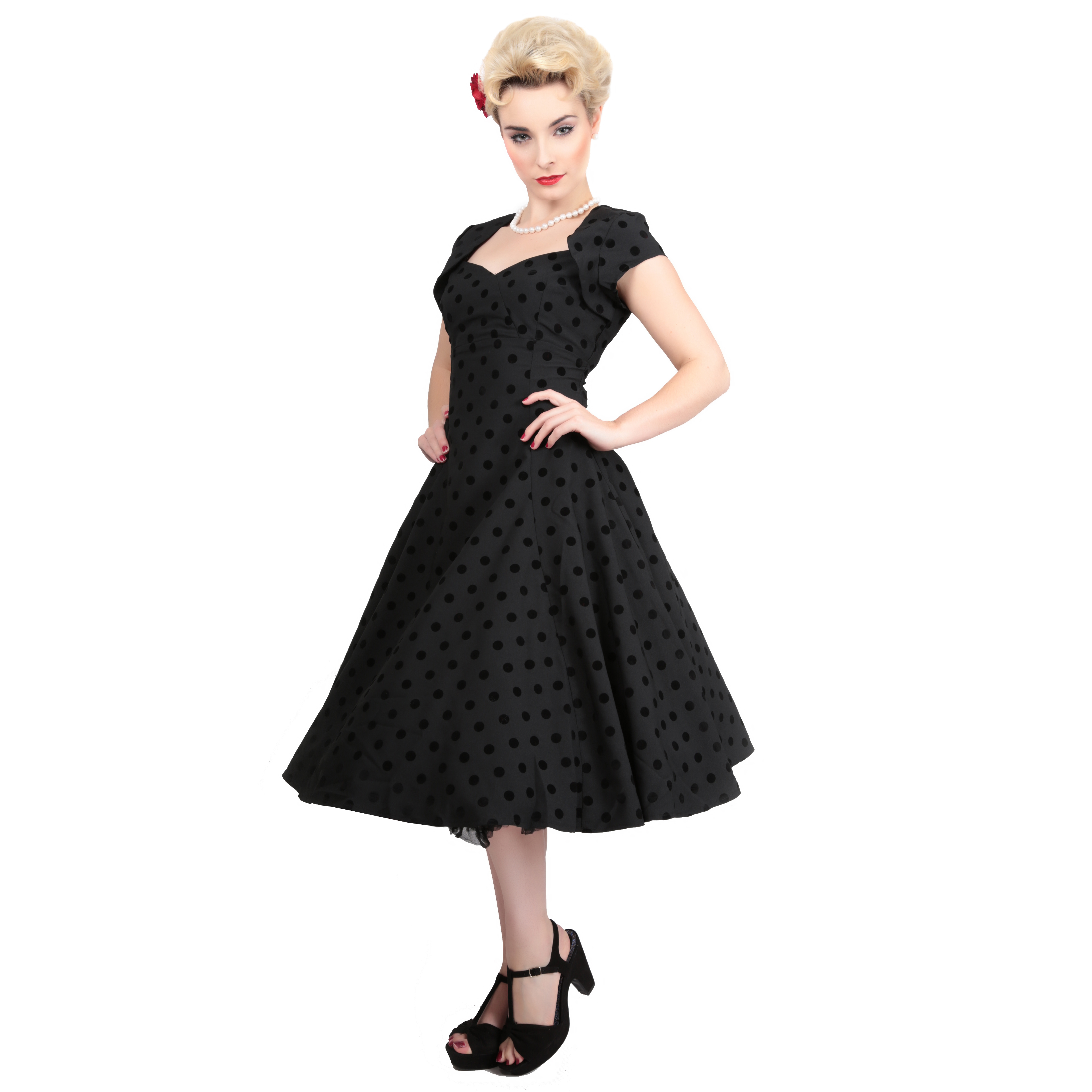 Collectif Regina Doll Black Flock Dot Vintage 1950s Retro Style ...