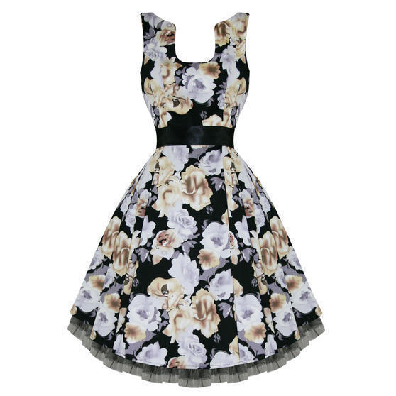 Hearts and Roses London Grey Floral 1950s Dress