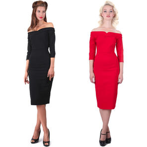 Collectif Kathryn Retro 50s Sexy Boat Neck Party Prom Pinup Pencil Wiggle Dress