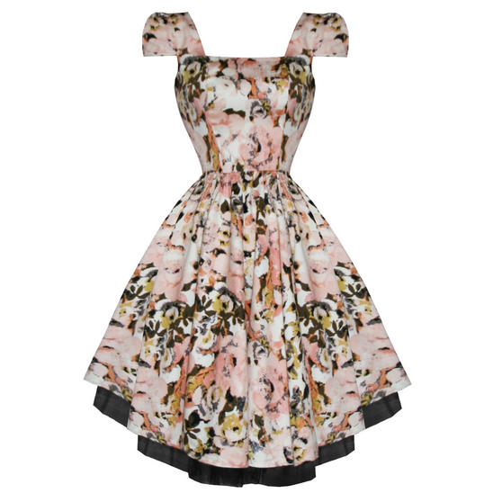 Hearts and Roses London Blush Floral 1950s Dress
