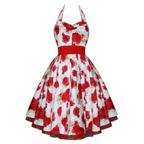 Hearts & Roses London Bianca Rose White Floral Vintage 1950s Party Sun Dress