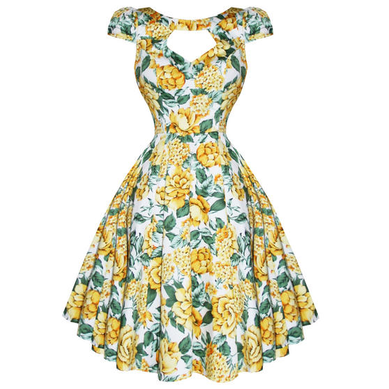 Hearts and Roses London Yellow Floral 1950s Dress