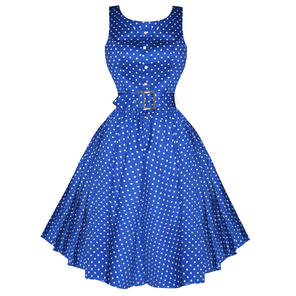 Hearts & Roses London Sleeveless Blue Polka Dot Vintage 1950s Party Prom Dress