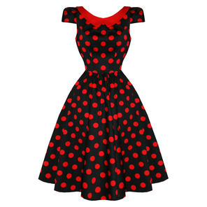 Hearts & Roses London Black Red Polka Dot Vintage 50s Party Prom Jive Dress