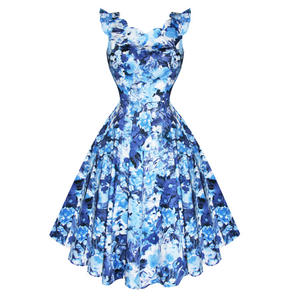 Hearts & Roses London Blue White Floral Vintage 1950s Party Prom Summer Dress
