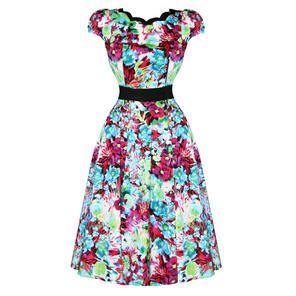 Hearts & Roses London Bright Floral Print Vintage 50s Party Prom Summer Dress