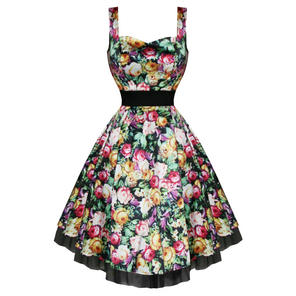 Hearts & Roses London Satin Floral Print Vintage 50s Party Prom Summer Dress