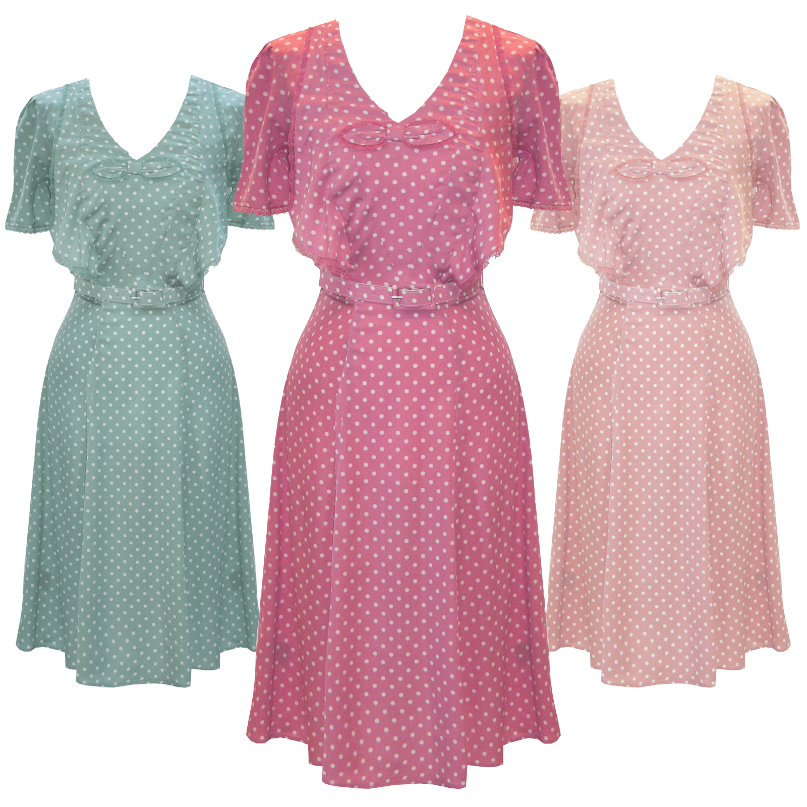 Hell-Bunny-Jennifer-Pastel-Polka-Dot-1940s-Wartime-WW2-Summer-Tea-Party-Dress