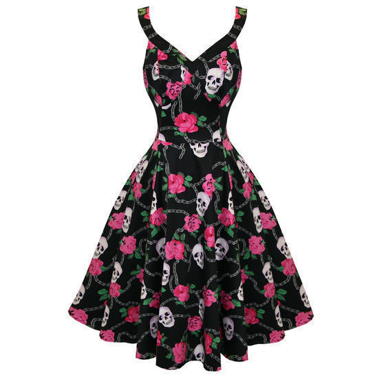 Hearts and Roses London Black Floral Skull 1950s Dress